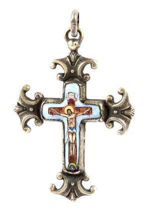 Late 19th century russian silver and enamel pendant cross