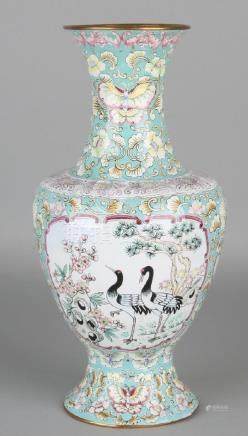 Large Chinese hand-painted enamelled vase with floral
