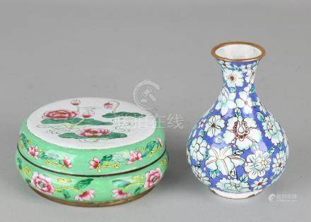 Two times old / antique Chinese enamel. One vase of