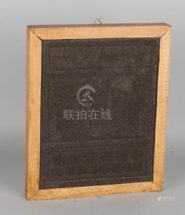 Old Chinese pressed tea brick / tea tile with wooden