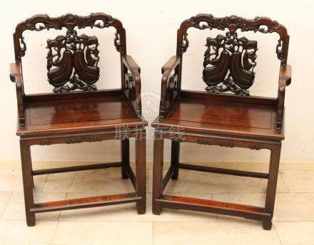 Two old / antique wood-stained two-part Chinese chairs