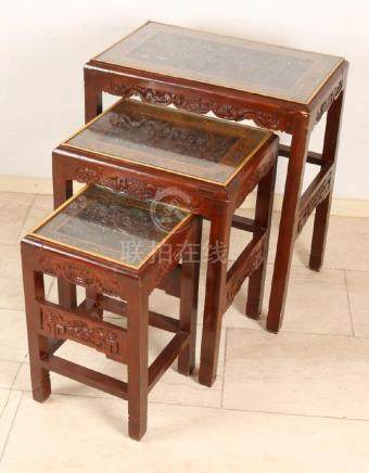 Three-piece Chinese wood-stained red-lacquered mini set