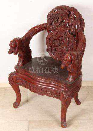 Large antique Chinese wood-stained armchair with
