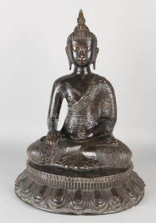 Large old / antique Chinese bronze buddha on lotus