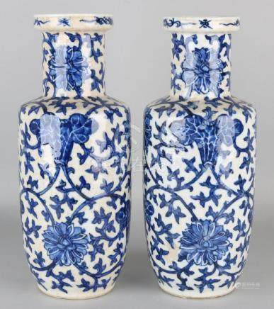Two old / antique Chinese porcelain vases with blue