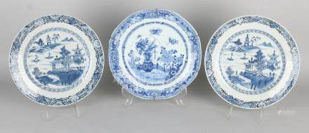 Three 18th century Chinese porcelain plates with