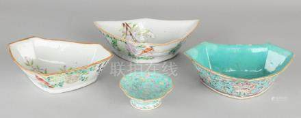 Four 19th century Chinese porcelain Family Rose scales
