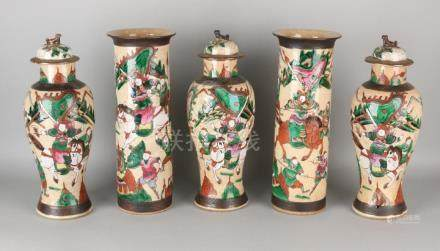 Large five-piece antique Chinese / Cantonese porcelain