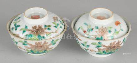 Two 19th century Chinese porcelain rice bowls with lid