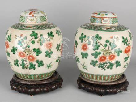 Two large old / antique Chinese Cantonese Verte ginger