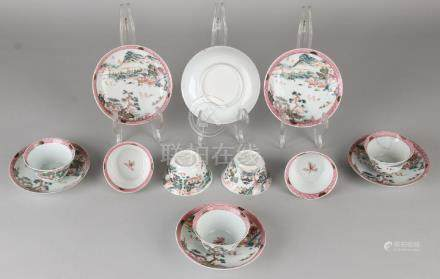 Eight rare 18th century Chinese porcelain Family Rose