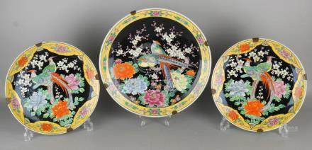 Three large old Chinese porcelain style dishes with
