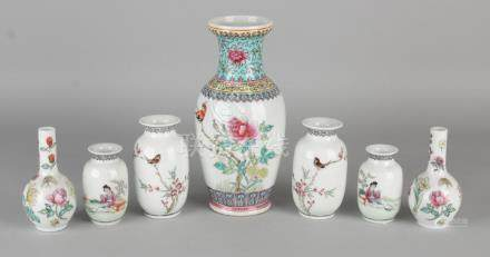 Seven pieces of old Chinese porcelain vases with