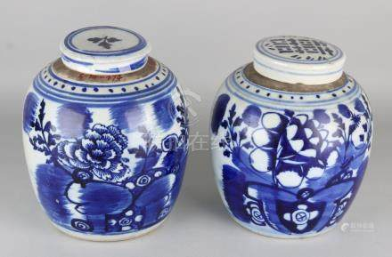 Two large old Chinese porcelain ginger jars with floral