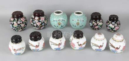 Six sets of old Chinese ginger jars with various