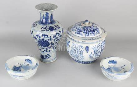 Four times old Chinese porcelain. One covered jar with