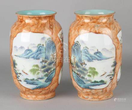 Two old Chinese porcelain Cheng Lung marked vases with