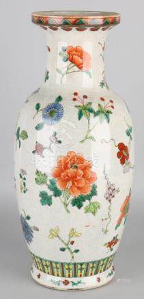 Large old Chinese porcelain Cantonese vase with floral