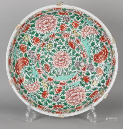 Large antique Chinese porcelain Family Verte dish with