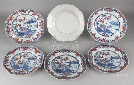 Six 18th century Chinese porcelain octagonal Imari