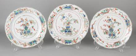 Three 18th century Chinese porcelain Family Rose plates