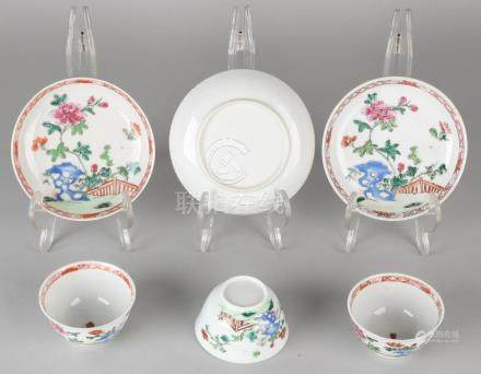 Three 18th century Chinese porcelain Family Rose cup