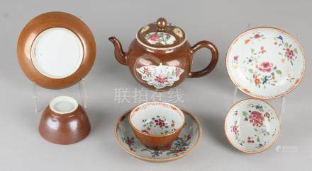 Lot Chinese Family Rose, Capuchin porcelain. 18th