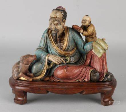 Ancient Chinese polychrome soapstone figures group on