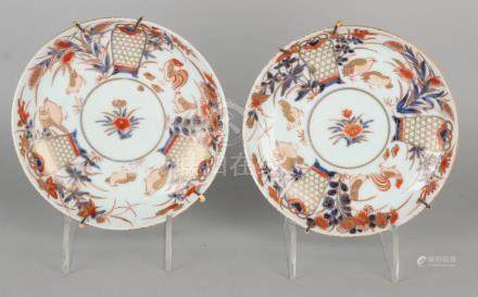Two times 18th century Chinese Imari porcelain plates
