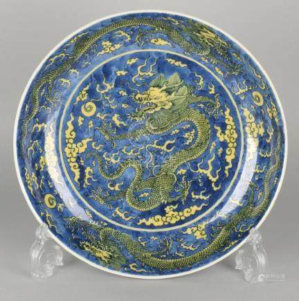 Rare 19th century Chinese porcelain blue-yellow dragon