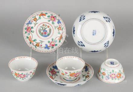 Three times 19th century Chinese porcelain Family Rose