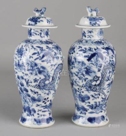 Two antique Chinese porcelain Kang Xi marked dragon