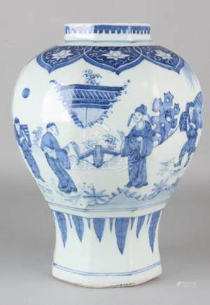 Old Chinese octagonal porcelain vase with landscape and