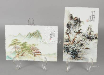 Two old Chinese porcelain plaques with landscape