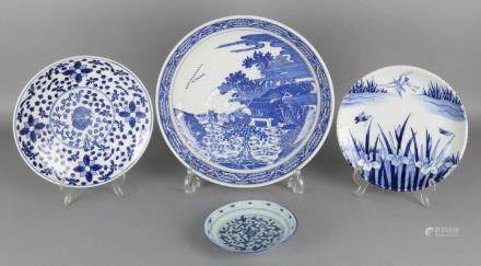 Four old Chinese porcelain plates with landscapes and
