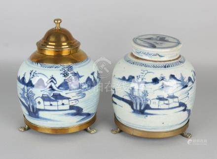 Two large antique Chinese porcelain ginger jars. One