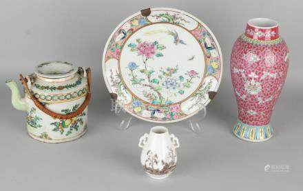 Four times old / antique Chinese porcelain. One big