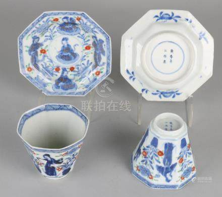 Two antique Chinese porcelain octagonal cups and