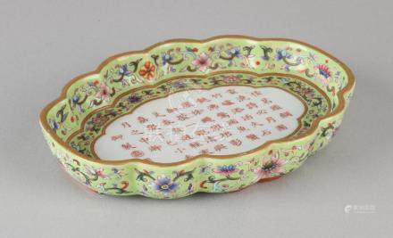 Old Chinese porcelain dish. Family Rose with soil