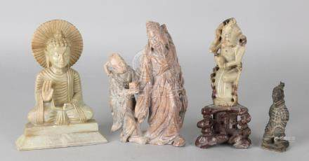 Four old natural stone Chinese figures. Circa 1900 or