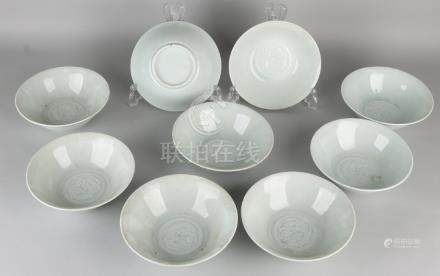 Nine pieces of old Chinese porcelain celadon bowls with