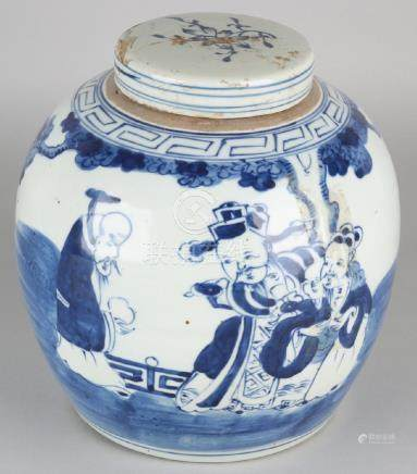Large old Chinese porcelain ginger jar with figures