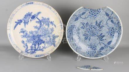 Two large antique Chinese / Japanese style dishes. Once