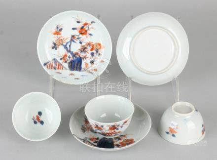 Three 18th century Chinese porcelain cups and saucers