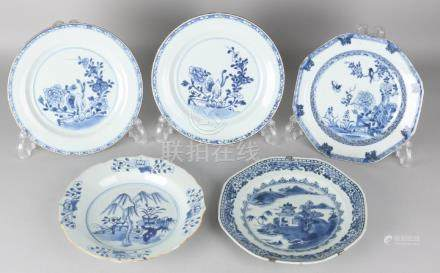 Five times 18th century Chinese porcelain plates. One
