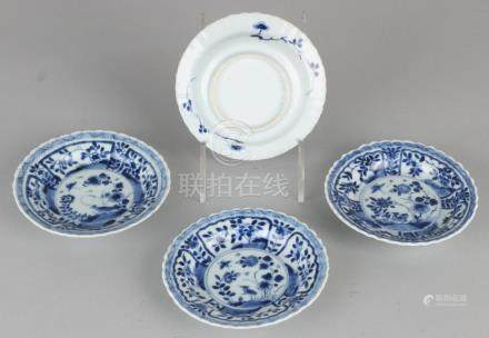 Four 18th century Chinese porcelain dishes with floral