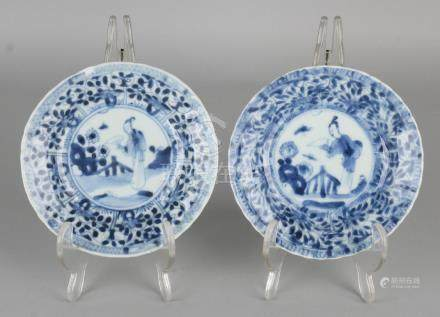 Two 18th century Chinese porcelain dishes with geisha,