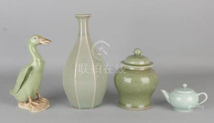 Four times old Chinese celadon porcelain. 20th century.