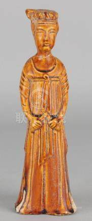 Old Chinese terracotta figure with brown glaze. Chinese