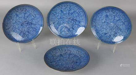 Four old blue Chinese celadon porcelain plates with